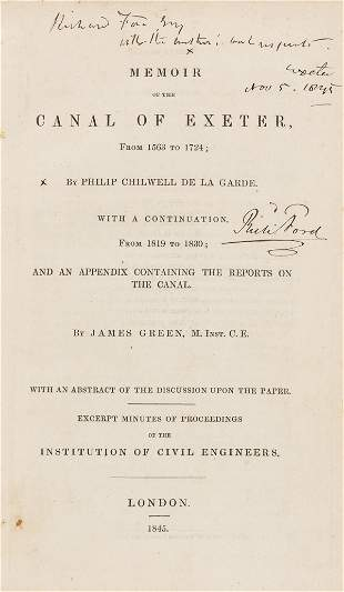 Exeter Canal.- De la Garde (Philip Chilwell) Memoir of