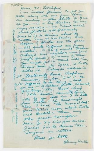 Miller (Henry) Autograph Letter signed to Mr Letchford,