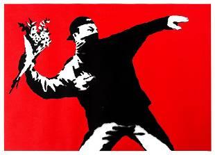 δ Banksy (b.1974) Love is in the Air (Flower