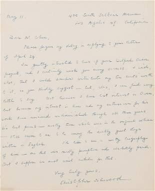 Isherwood (Christopher) Autograph Letter signed