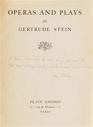 Stein (Gertrude) Operas and Plays, first edition, one