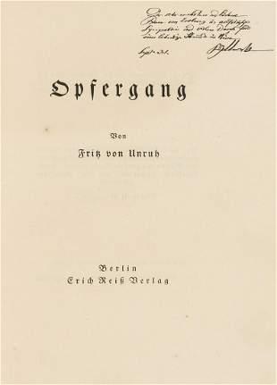 Unruh (Fritz von) Opfergang, first edition, number 16