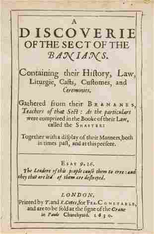 India.- [Lord (Henry)] A Discoverie of the Sect of the