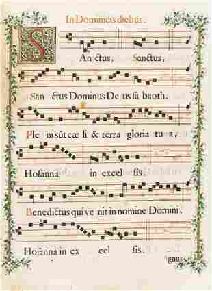 Music.- Four 18th century antiphonal folio leaves with