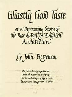 Betjeman (John) Ghastly Good Taste, manuscript copy in