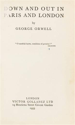 Orwell (George) Down and Out in Paris and London, first