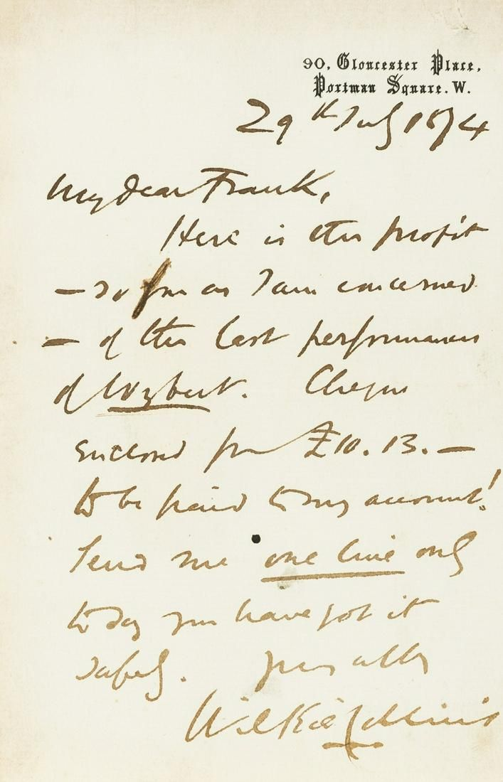 """Collins (Wilkie) Autograph Letter signed to """"My Dear"""