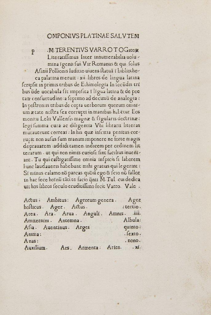 Varro (Marcus Terrentius) De Lingua Latina, 1471.