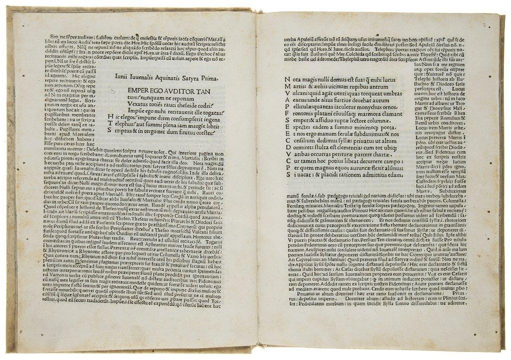 Juvenalis (Decimus Junius) Satyrae, first edition with