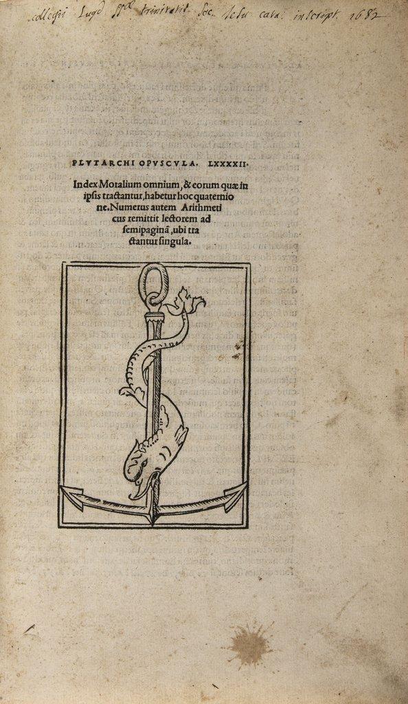 Plutarch. Opuscula LXXXXII, editio princeps, 1509.