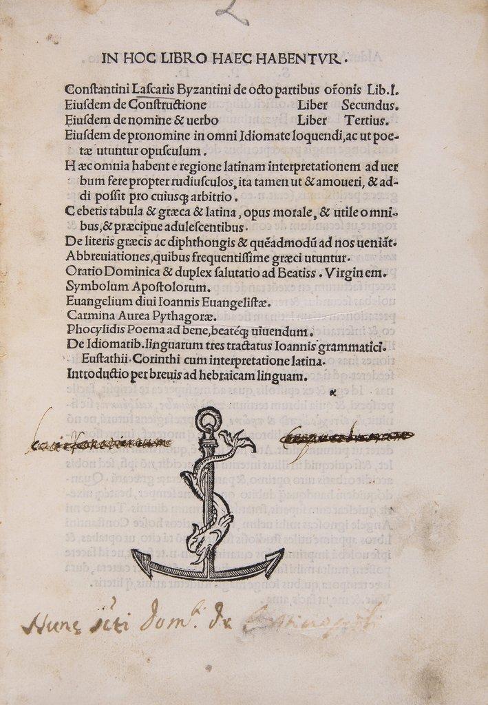 Lascaris (Constantinus) De octo partibus oronis Lib.