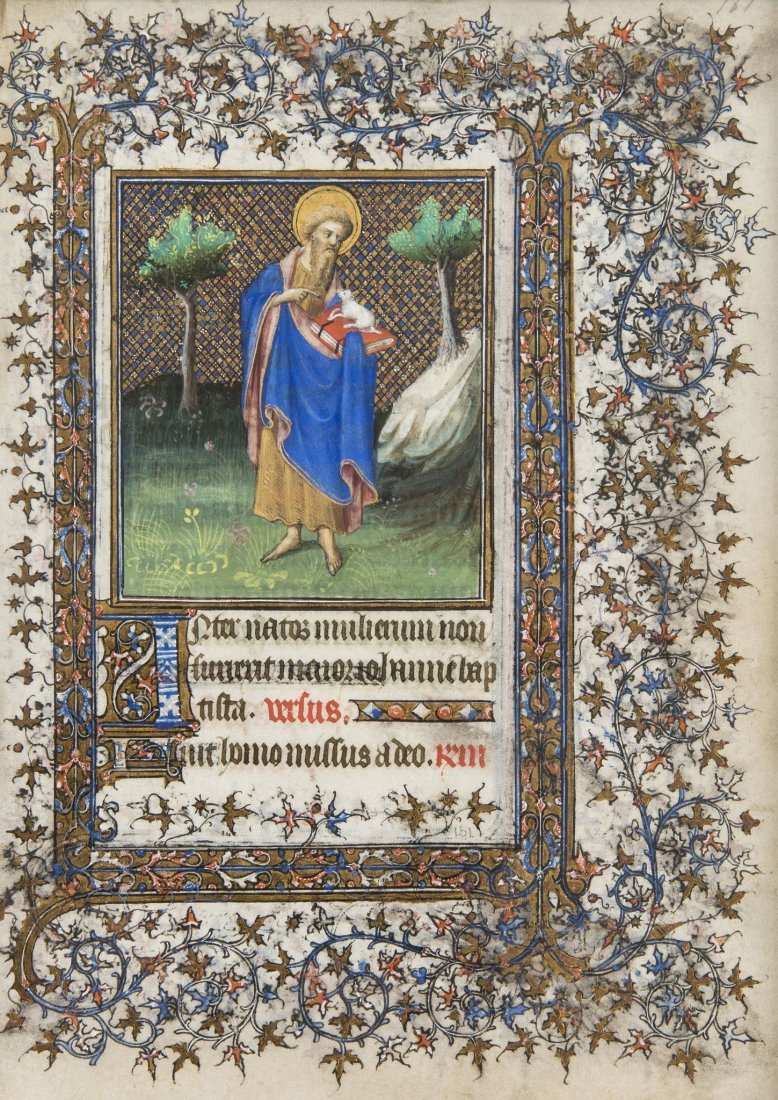 St. John the Baptist, miniature on a leaf from the