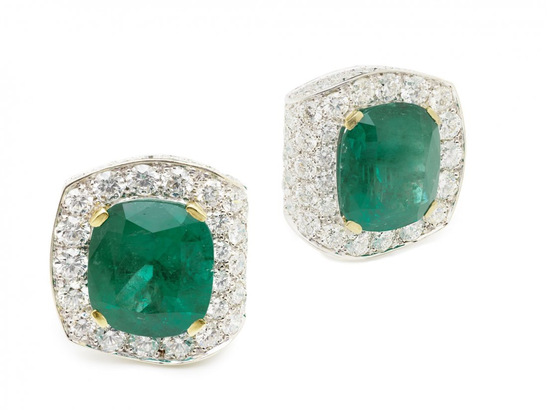 A spectacular pair of emerald and diamond ear clips
