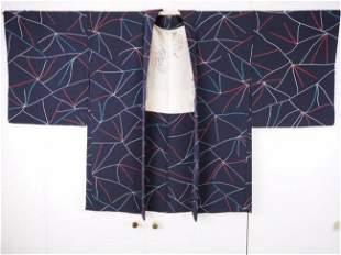Vintage Japanese Modern Print Silk Kimono