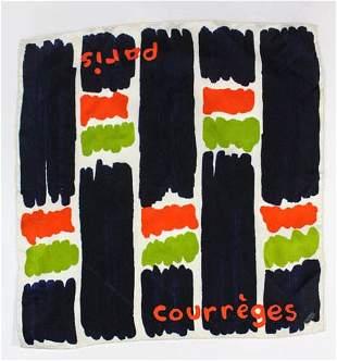 Courreges Paris Printed Silk Scarf ,c.1960's