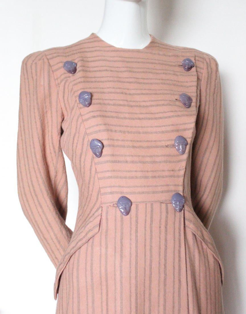 Schiaparelli Haute Couture Wool Coat, late 1930's - 2