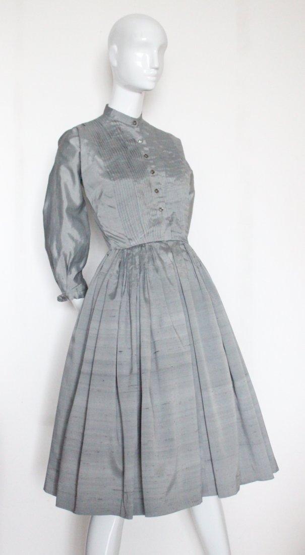 Anne Fogarty Gray Shantung Dress, 1950's