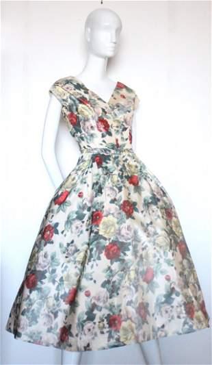 Christian Dior Demi Couture Floral Silk Dress, c.1956
