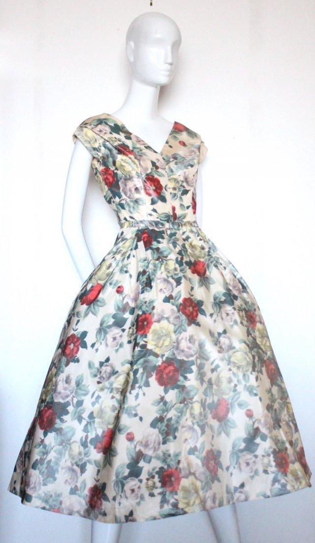 Christian Dior Demi Couture Floral Silk Dress, c.1956