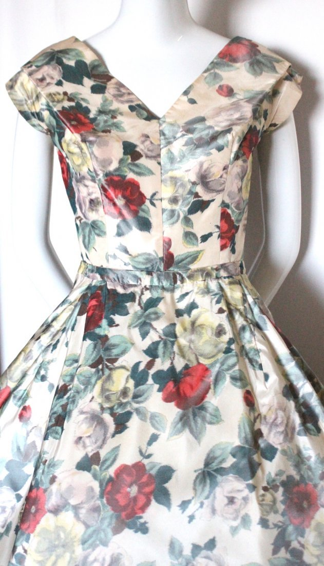 Christian Dior Demi Couture Floral Silk Dress, c.1956 - 2