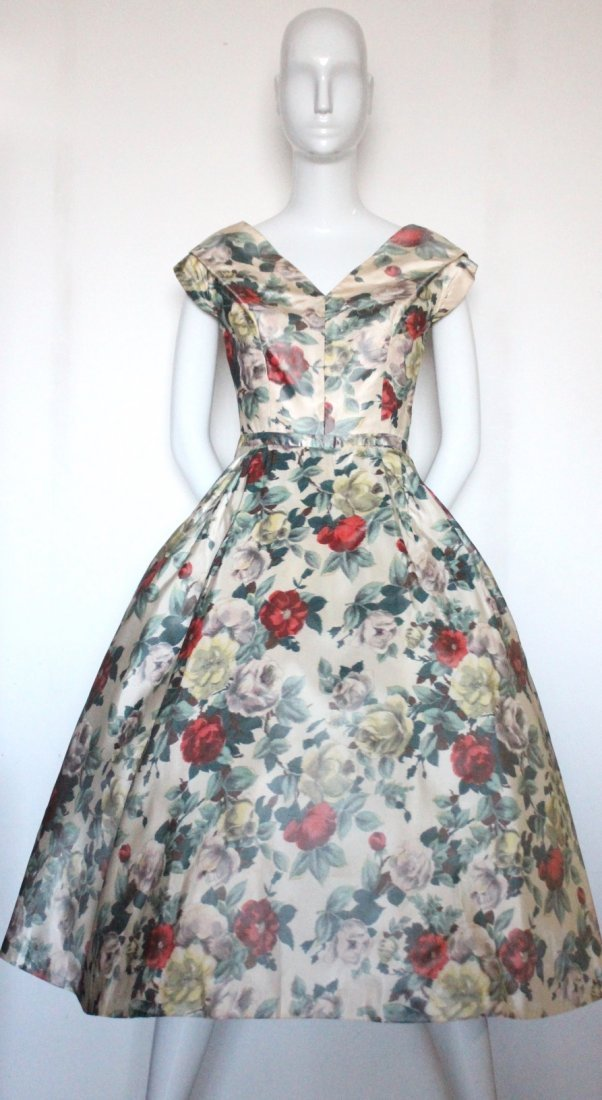 Christian Dior Demi Couture Floral Silk Dress, c.1956 - 3