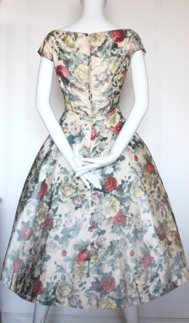 Christian Dior Demi Couture Floral Silk Dress, c.1956 - 4