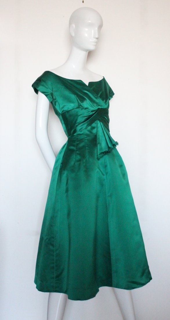 Christian Dior New York Green Silk Satin Dress, c.1956