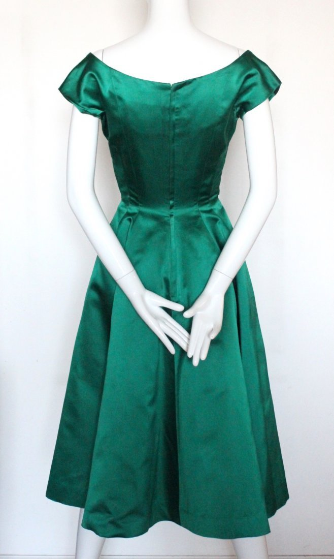 Christian Dior New York Green Silk Satin Dress, c.1956 - 3