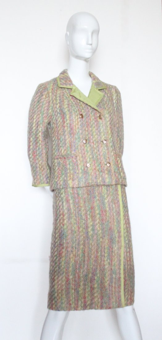 Chanel Haute Couture Green Lined Tweed Suit, F/W 1966