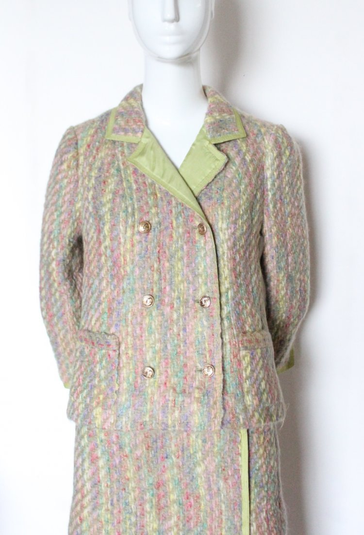 Chanel Haute Couture Green Lined Tweed Suit, F/W 1966 - 2