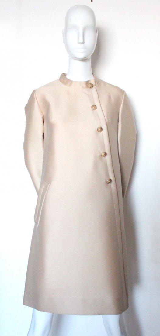 Jean Patou Demi Couture Beige Silk & Wool Dress, 1960's