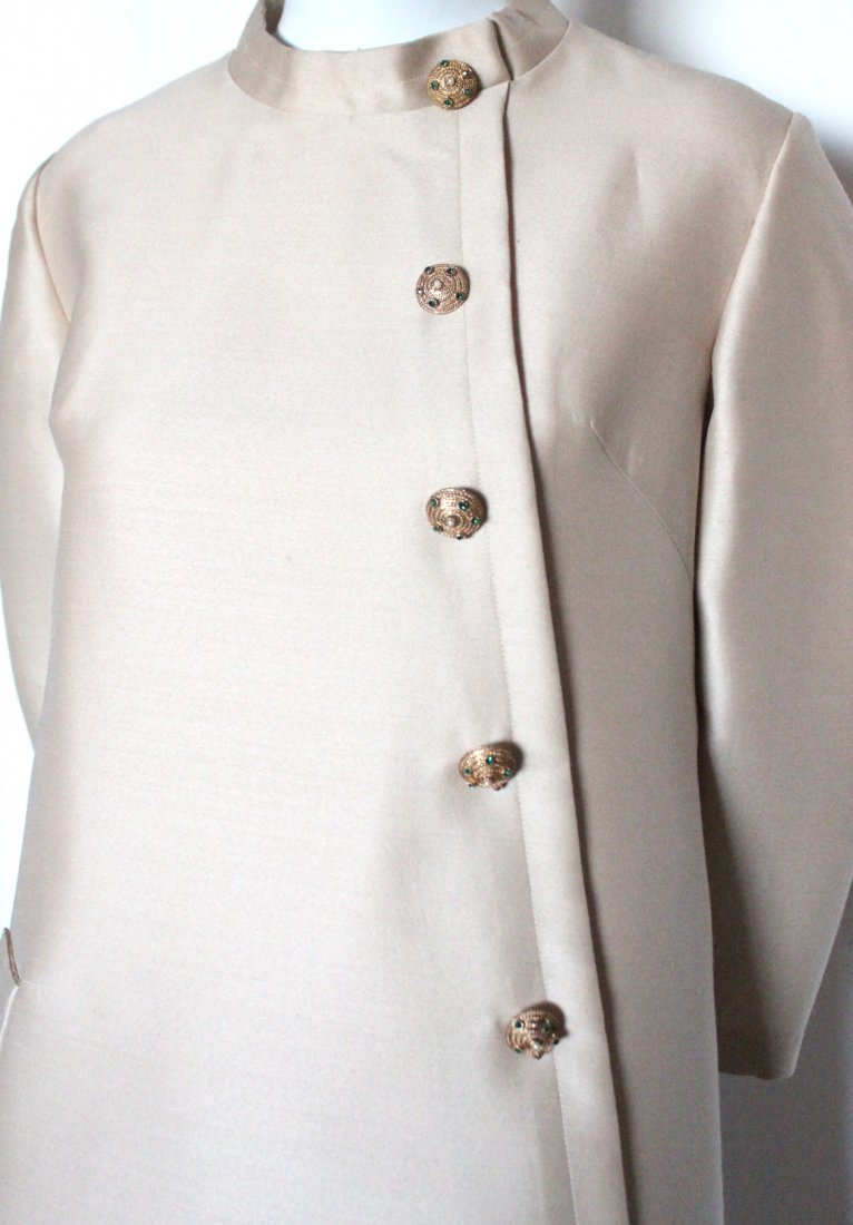 Jean Patou Demi Couture Beige Silk & Wool Dress, 1960's - 2