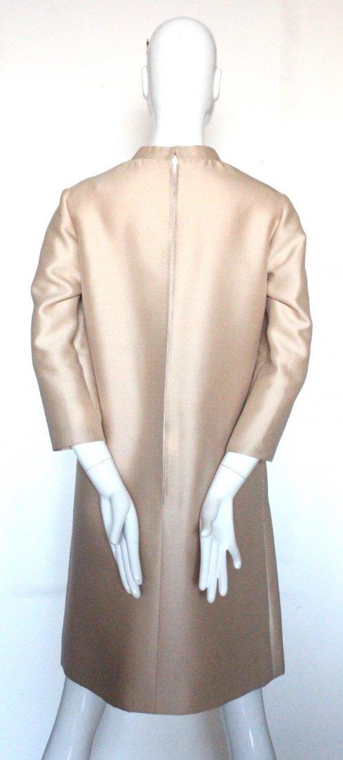 Jean Patou Demi Couture Beige Silk & Wool Dress, 1960's - 3