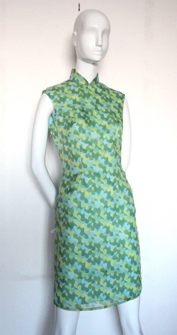 Green Heart Print Chiffon Chinese Style Dress, 1960's
