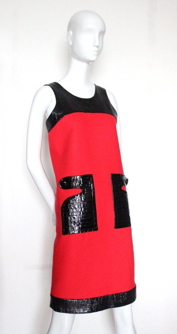 Pierre Cardin Paris Red Wool & Vinyl Dress, c.1970's