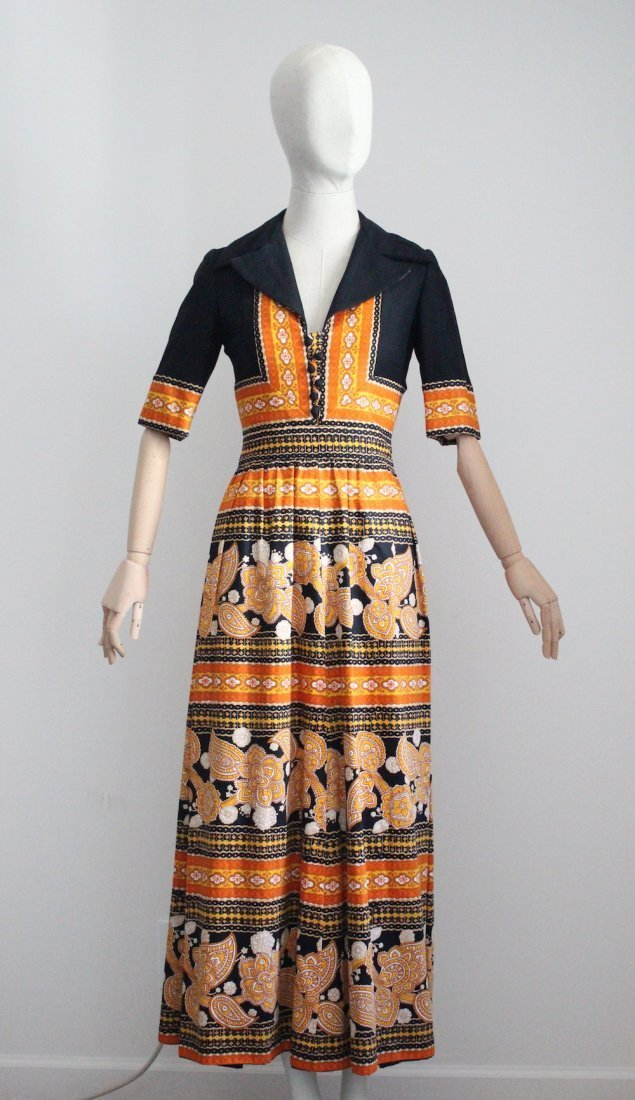 Oscar de la Renta Parsley Print Maxi Dress, c.late