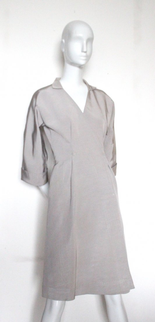 Stavropoulos Couture Silk Faille Coat Dress, c.1970's