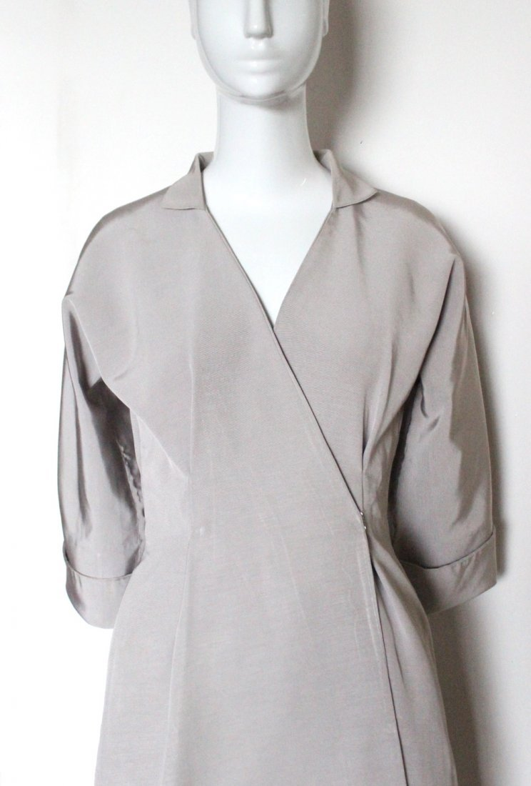 Stavropoulos Couture Silk Faille Coat Dress, c.1970's - 2