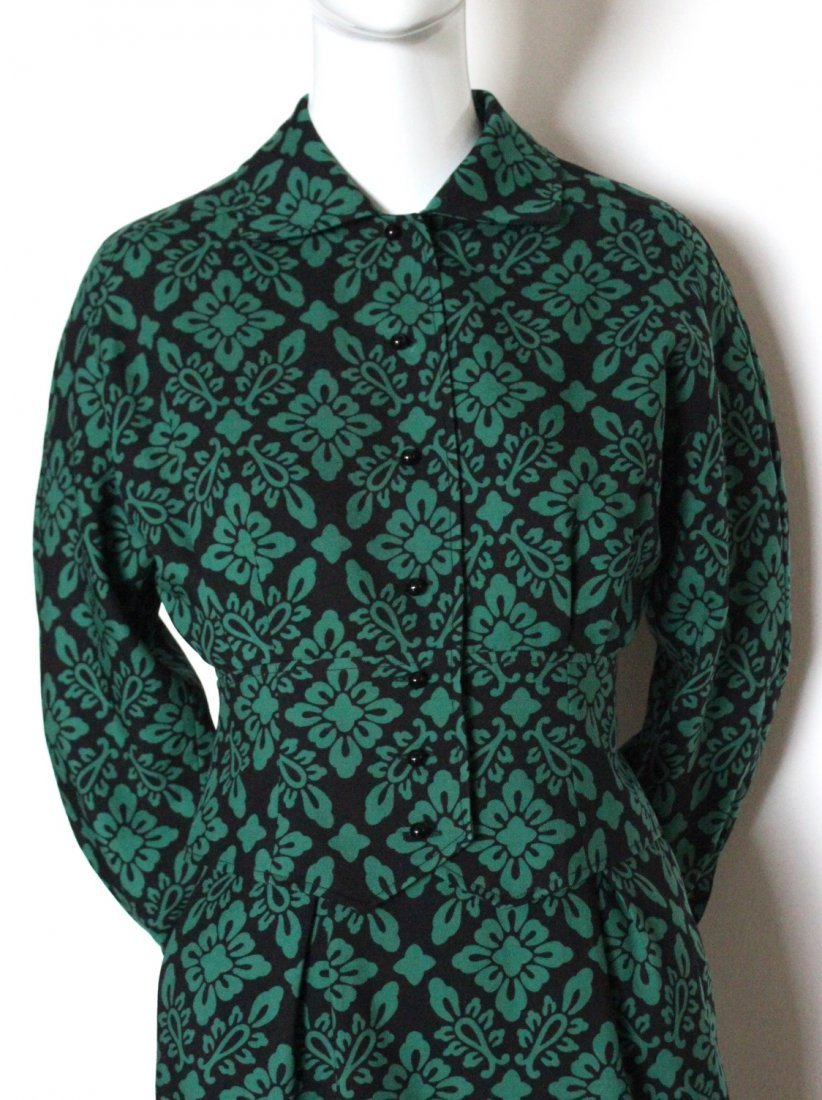 Guy Laroche Green & Black Wool Suit, c.1970's - 2