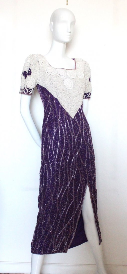Neiman Marcus Heavy Beaded Evening Dress, c.1980's