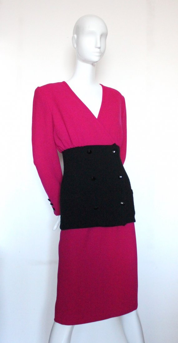 Valentino Boutique Pink & Black Wool Suit, c.1980's
