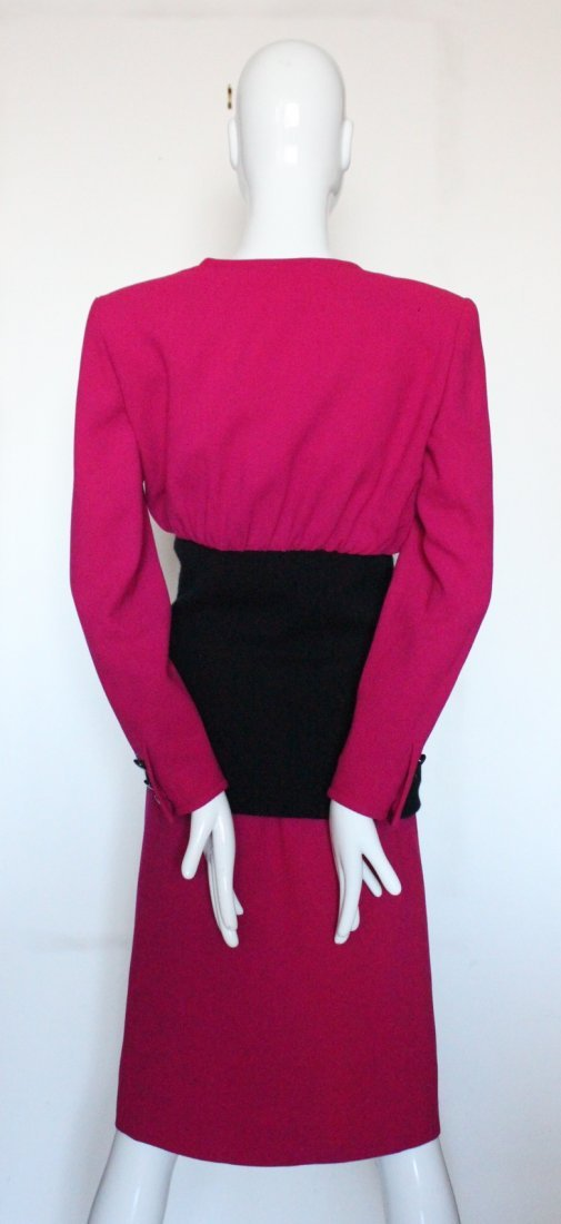 Valentino Boutique Pink & Black Wool Suit, c.1980's - 2