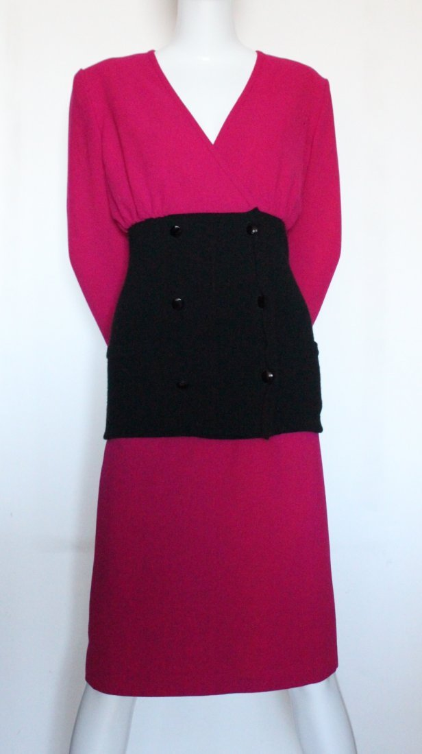 Valentino Boutique Pink & Black Wool Suit, c.1980's - 3