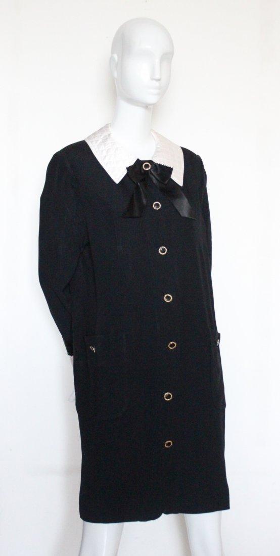 Adolfo Black Silk Crepe Dress, 1980's.