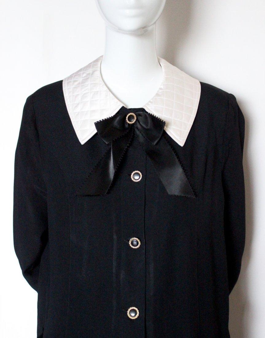 Adolfo Black Silk Crepe Dress, 1980's. - 2