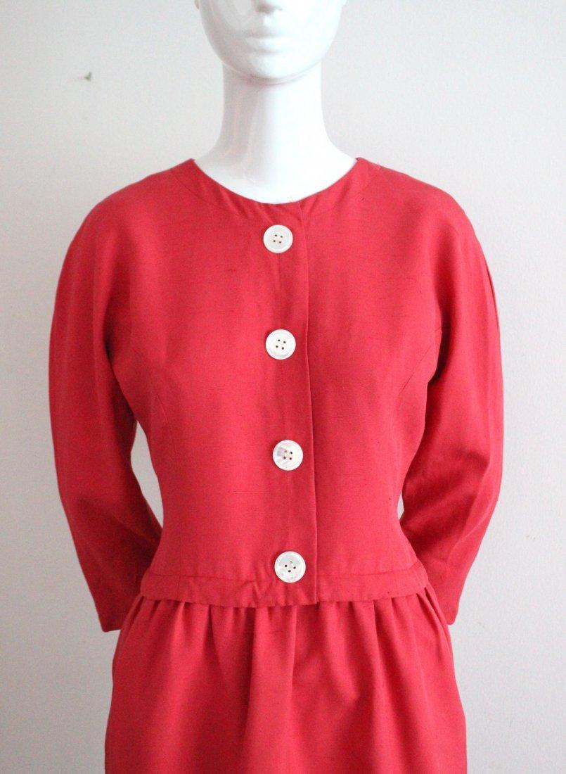 Oscar de la Renta Red Silk Dress, c.1980's - 2