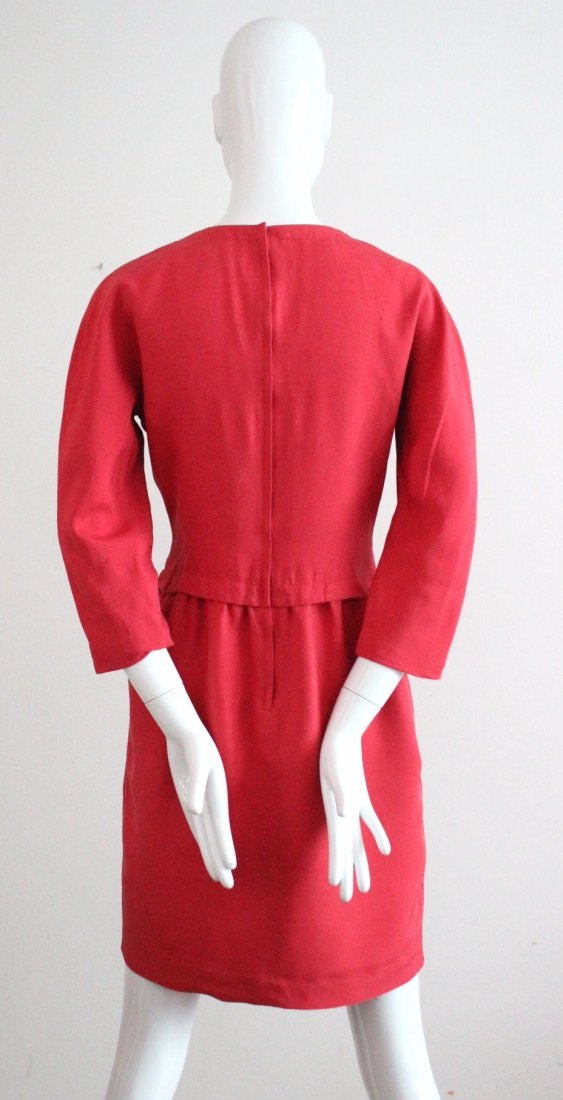 Oscar de la Renta Red Silk Dress, c.1980's - 3