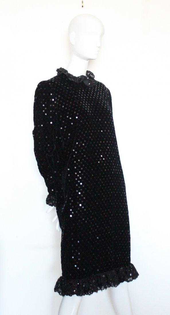 Bill Blass Sequined Black Velvet & Lace Dress, 1980's