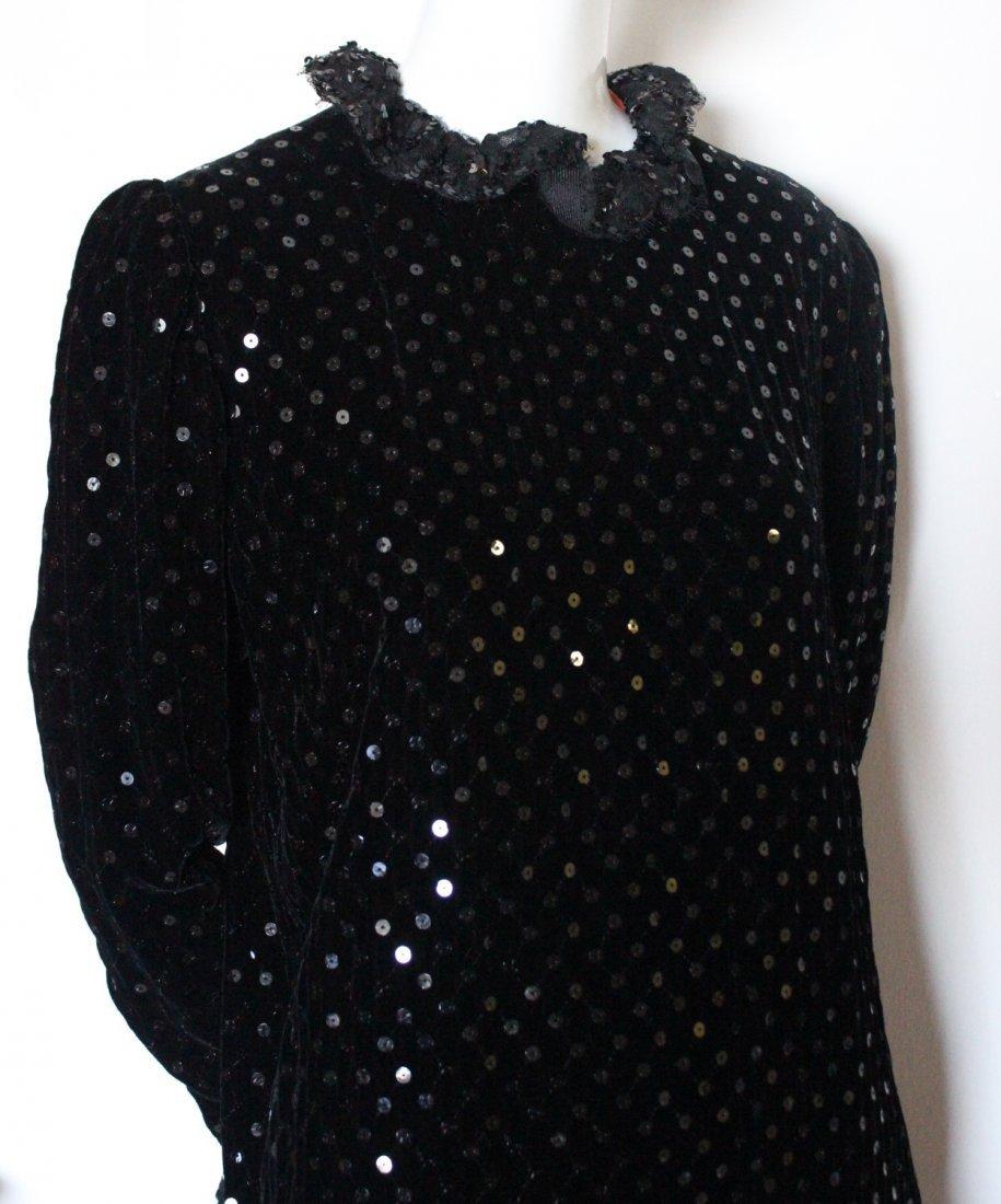 Bill Blass Sequined Black Velvet & Lace Dress, 1980's - 3