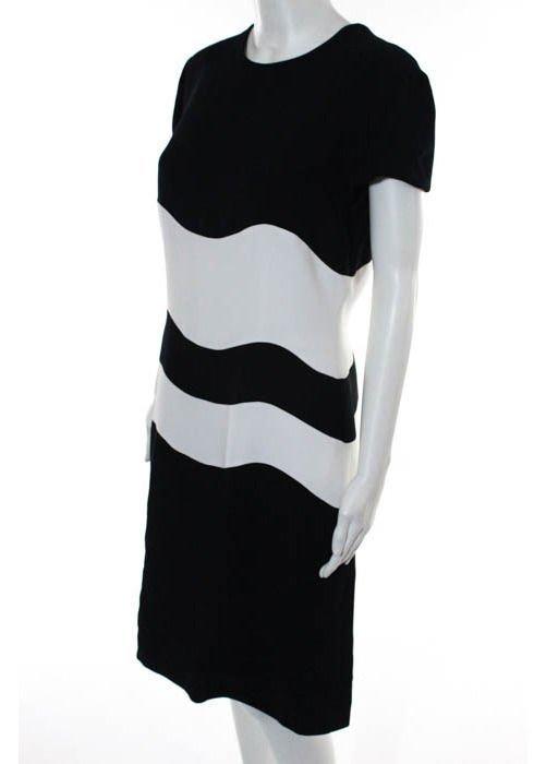 Genny Dark Navy & White Color Block Dress, c.1980's
